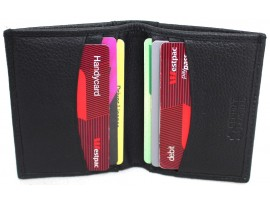Quality Full Grain Cow Hide Leather Card Holder. Colour: Black. Style: 11019.