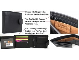 RFID Quality Full Grain Cow Hide Leather Wallet. 11020