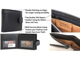 RFID Quality Full Grain Cow Hide Leather Wallet. Style 11021. Black