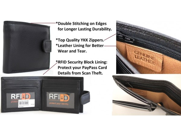 RFID Quality Full Grain Cow Hide Leather Wallet. Style 11021. Black or Brown.