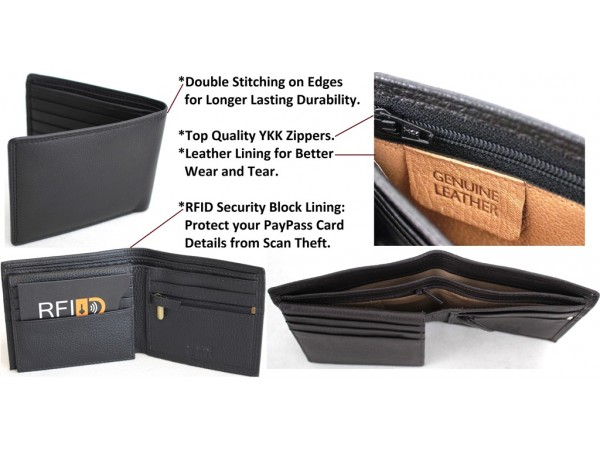 RFID Security Lined Leather Wallet. Quality Full Grain Cow Hide Leather. 11022.Black 12022 Brown