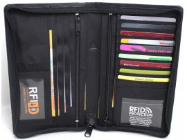 RFID Security Lined Leather Polyester Passport Wallet. Protection from Scan Theft. 11023.