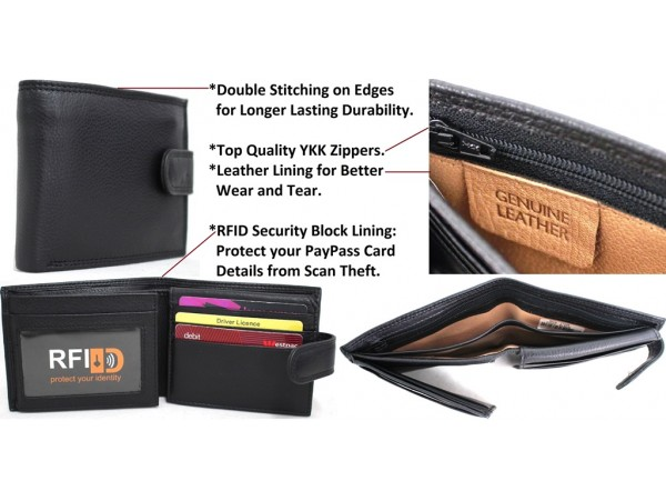 RFID Quality Full Grain Cow Hide Leather Wallet. Style: 11024. Black