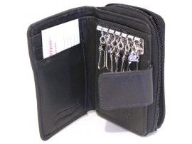 Quality Full Grain Cow Hide Leather Key Holder and Coin Purse. Colour: Black. Style No: 11043.