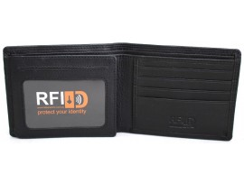 RFID Security Lined Leather Wallet Quality Full Grain Cow Hide Leather. BLK or BRN. Style: 11049.