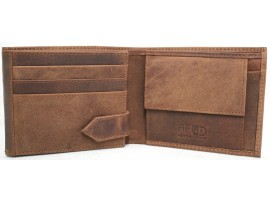 RFID Security Lined Vintage Wallet. Full Grain Cow Hide Hunter Leather. 12040.