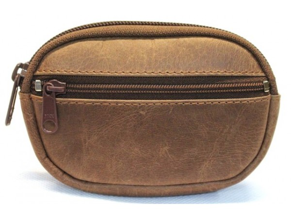 Quality Full Grain Cow Hide Hunter Leather Coin Purse. Colour: Brown. Style No: 12044.