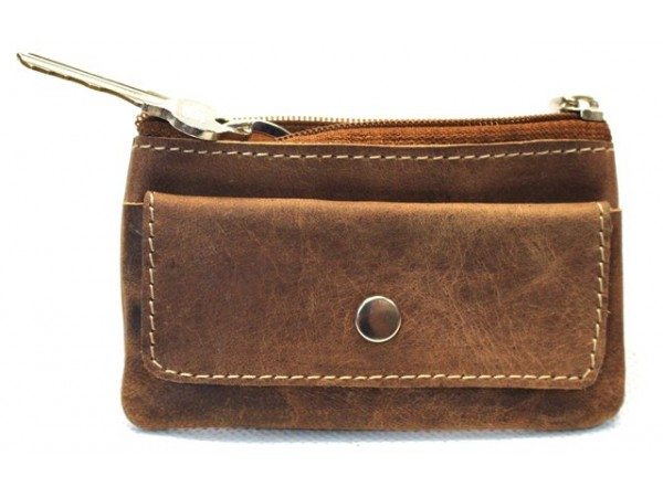 Quality Full Grain Cow Hide Hunter Leather Coin Purse. Colour: Brown. Style No: 12057.