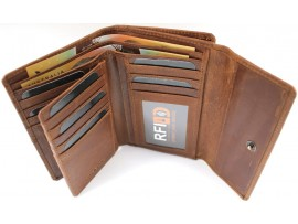 Quality Full Grain Hunter Leather Purse. Colour: Brown. Style No: 22004