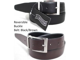 Reversible Buckle Belt. One Side Black, Reverse Side Brown. Style No: 41003. COMING SOON.