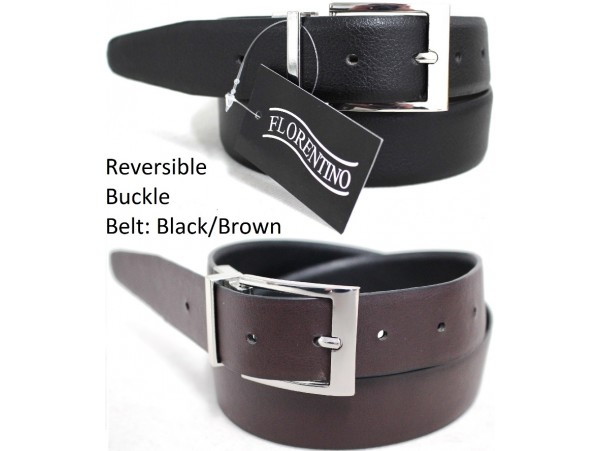 Reversible Buckle Belt. One Side Black, Reverse Side Brown. Style No: 41003.
