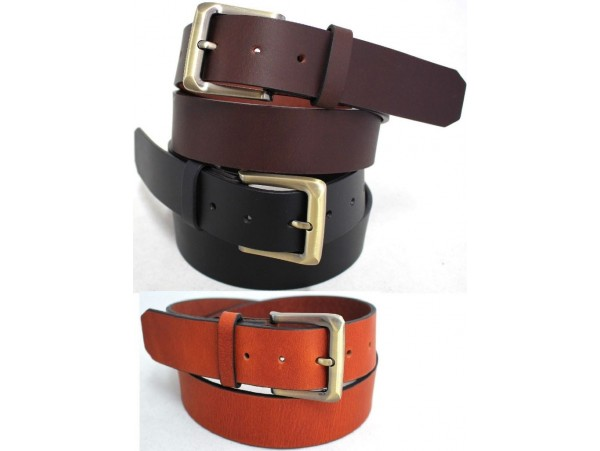 Full Grain Genuine Leather Belt. Width 38 mm. Style 41004. Black, Brown or Tan.