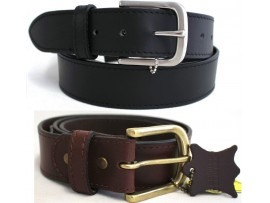 Quality Full Grain Leather Belt. Black or Brown. Width: 38mm. Edged Stitching. Style No: 41005.