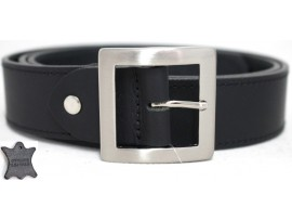 Genuine Full Grain One Piece Edge Stitched Leather Belt. Style: 41017. Black.