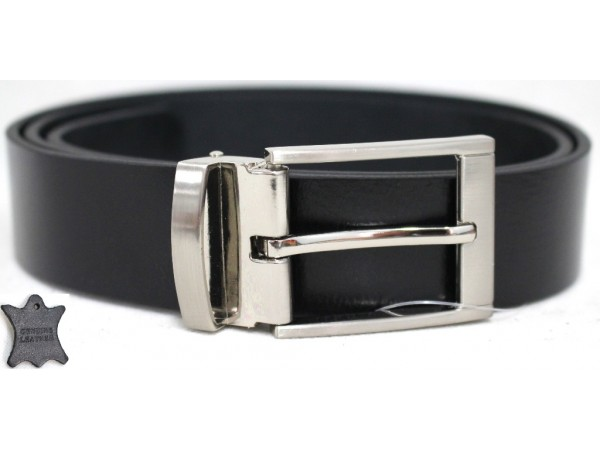 Genuine Full Grain Leather Belt with Metal Keeper. Style: 41021. Black.