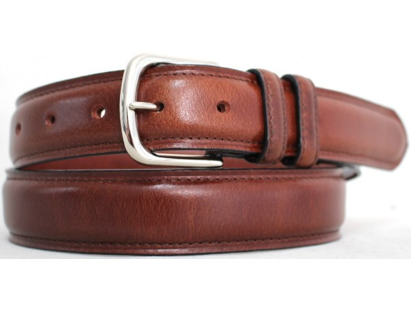 Quality Full Grain Leather Belt. Brown with Silver Buckle. Width: 35mm. Style No: 42019 Brown Silver Buckle.