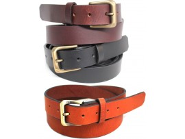 Full Grain Genuine Leather Belt. Width: 30 mm. Style No: 41008. Black, Brown and Tan.