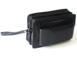 Quality Full Grain Cow Hide Leather Men's Clutch Bag. Black. Style: 51009.