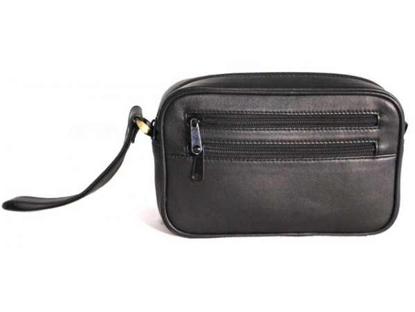 Quality Full Grain Cow Hide Leather Mens Clutch Bag. Colour: Black. Style No: 51012.