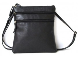 Quality Full Grain Cow Hide Leather Handbag. Adjustable Shoulder Strap. Colour: Black. Style No: 61019.