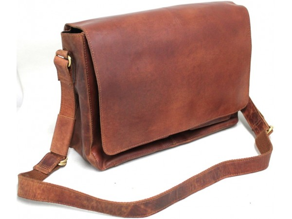 Quality Vintage Full Grain Cow Hide Hunter Leather Messenger Bag. Adjustable Strap. Style No: 61032.
