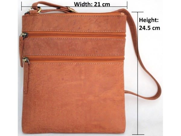 Quality Full Grain Leather Shoulder Bag with Adjustable Strap. Style: 62019.