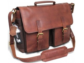 Quality Full Grain Leather/Polyester Messenger Bag. Adjustable Shoulder Strap. Padded Laptop Protection.Style 81011