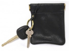 Quality Full Grain Cow Hide Leather Coin Purse with Key Ring. Fits Credit Card.11032
