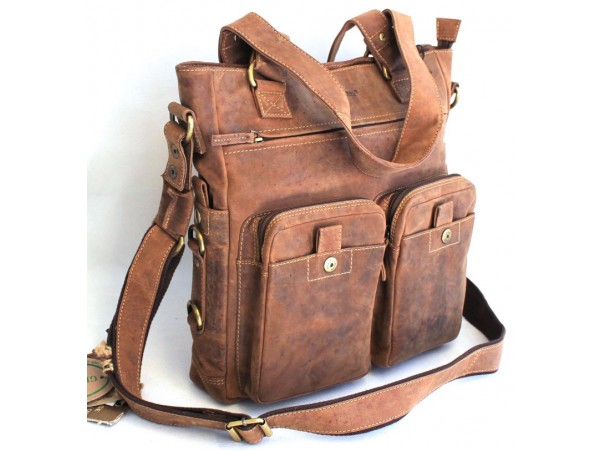 Hunter Leather Shoulder Bag. Adjustable Strap. Style: 1762.