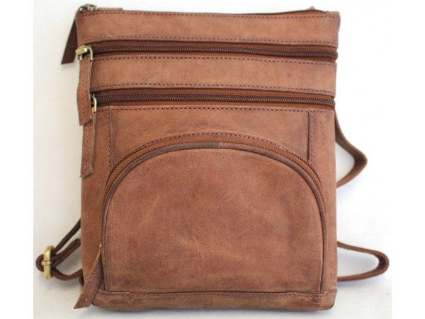 Leather Shoulder Bag with Adjustable Strap. Style:  62020 Brown.