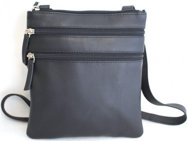 Leather Shoulder Bag with Adjustable Strap. Style: 61021 Black. 62021 Brown.