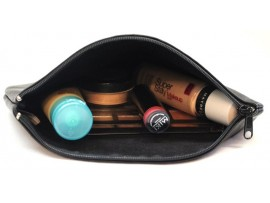 Women's Makeup Cosmetic Case Toiletry Bag Travel Organizer Pouch. Genuine Leather. Style: 11050.
