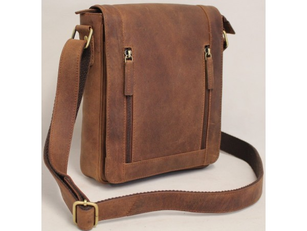 Quality Full Grain Cow Hide Hunter Leather Messenger Bag. Adjustable Shoulder Strap. Style: 52008.