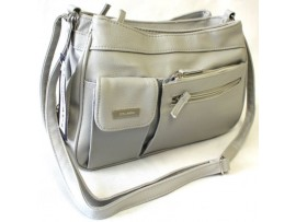 Multi-Compartment Handbag. Adjustable Shoulder Strap. Grey.3265