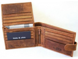 RFID lined  Cow Hide Hunter Leather Wallet. 12006.