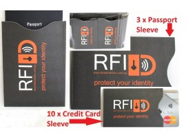 RFID Passport & Credit Card 13 Pack Sleeves. Protect Your Card Details.