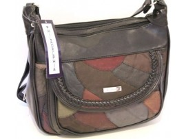 Multi-compartment Patch Leather Handbag. Adjustable Strap. 2945