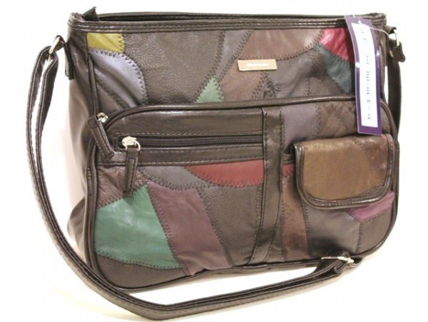 Multi-compartment Patch Leather Handbag. Adjustable Strap. 4490