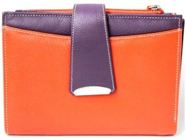 Full Grain Leather Purse. MULTI, BLACK, RED,  YELLOW, GREEN. Style: 22056.