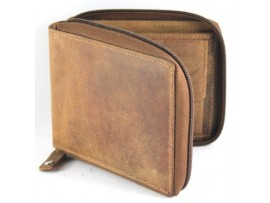 RFID Full Grain Cow Hide Hunter Nu-buck Leather Wallet. 12011