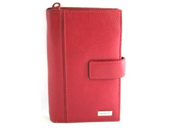 Full Grain Cow Hide Leather Purse. Red. Style No: 23008