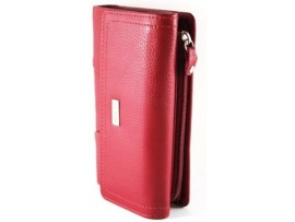Full Grain Cow Hide Leather Purse. Red. Style No: 23004 NON RFID