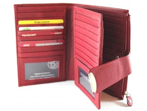 Full Grain Cow Hide Leather Purse. Red. Holds Many Cards. 23056