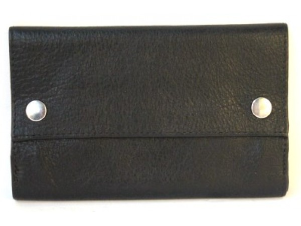 Tobacco Full Grain Cow Hide Leather  Pouch. Black. 11048