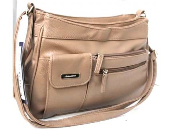 Multi-Compartment Handbag. Adjustable Shoulder Strap. Taupe.3265
