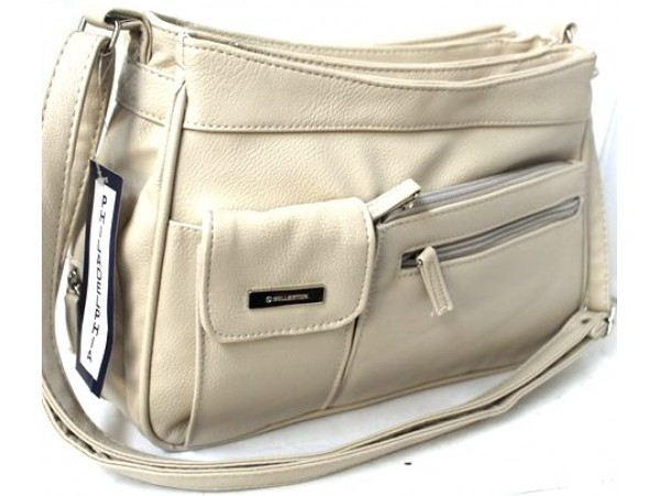 Multi-compartment Handbag. Adjustable Shoulder Strap. Bone.3265