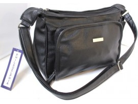 Multi-Compartment Handbag. Adjustable Shoulder Strap. Blk. 6498